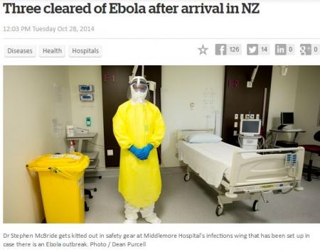 NZのエボラ対策用防護服は黄色。