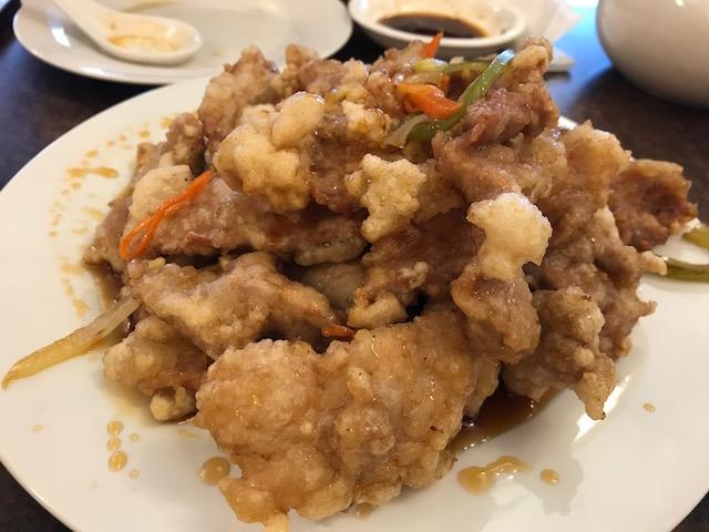 Mr zhou's dumplings 201710 crispy pork w sweet & sour source