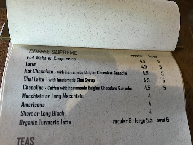 Olaf's 201802 drink menu
